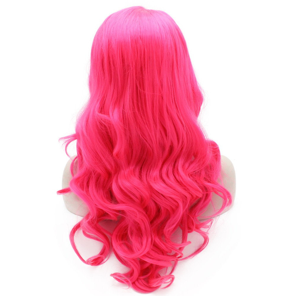 Long Wavy Hand Tied Lace Front Hot Pink Costume Party Wig 3