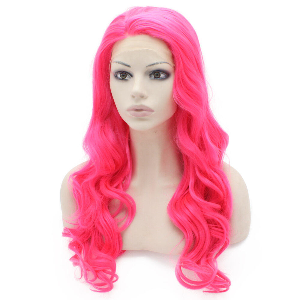 Long Wavy Hand Tied Lace Front Hot Pink Costume Party Wig 2