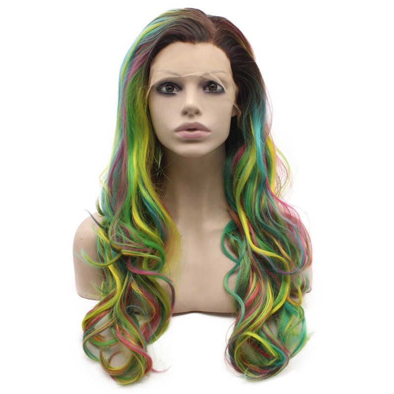 Tri-Toned Ombre Wavy Synthetic Wig