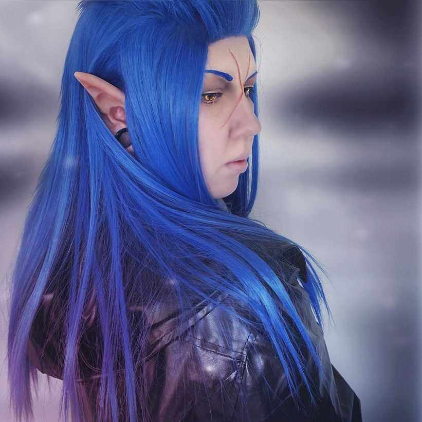 Cosplay Long Blue Straight Synthetic Wig