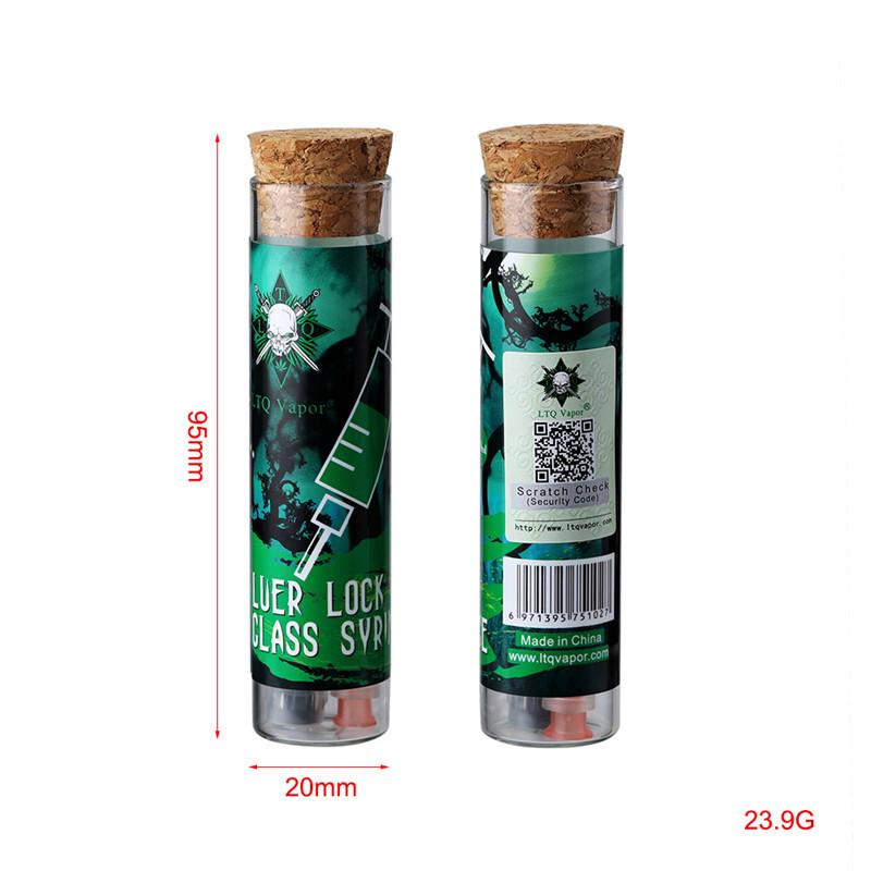 LTQ Vapor 1ML Luer Lock Glass Syringe with syrince needle and measurement mark tip