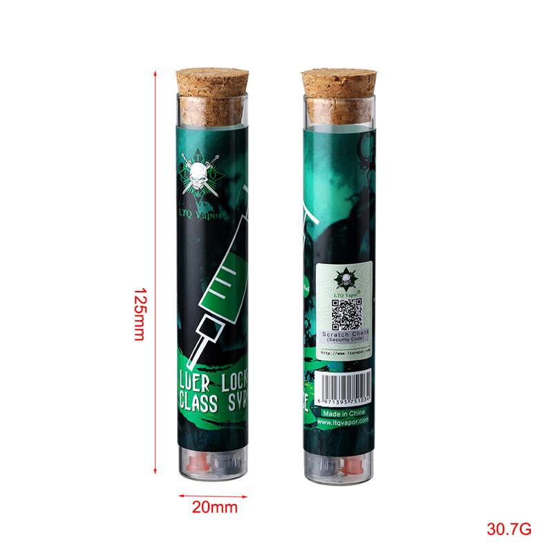 LTQ Vapor 2ML Luer Lock Glass Syringe with syrince needle and measurement mark tip