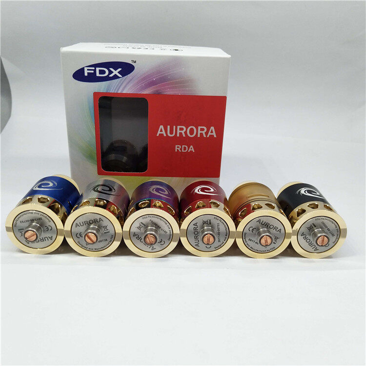 FDX AURORA RDA 24mm with Colours LED Light Heat Sink Screwless Spring Posts Easy To Build
