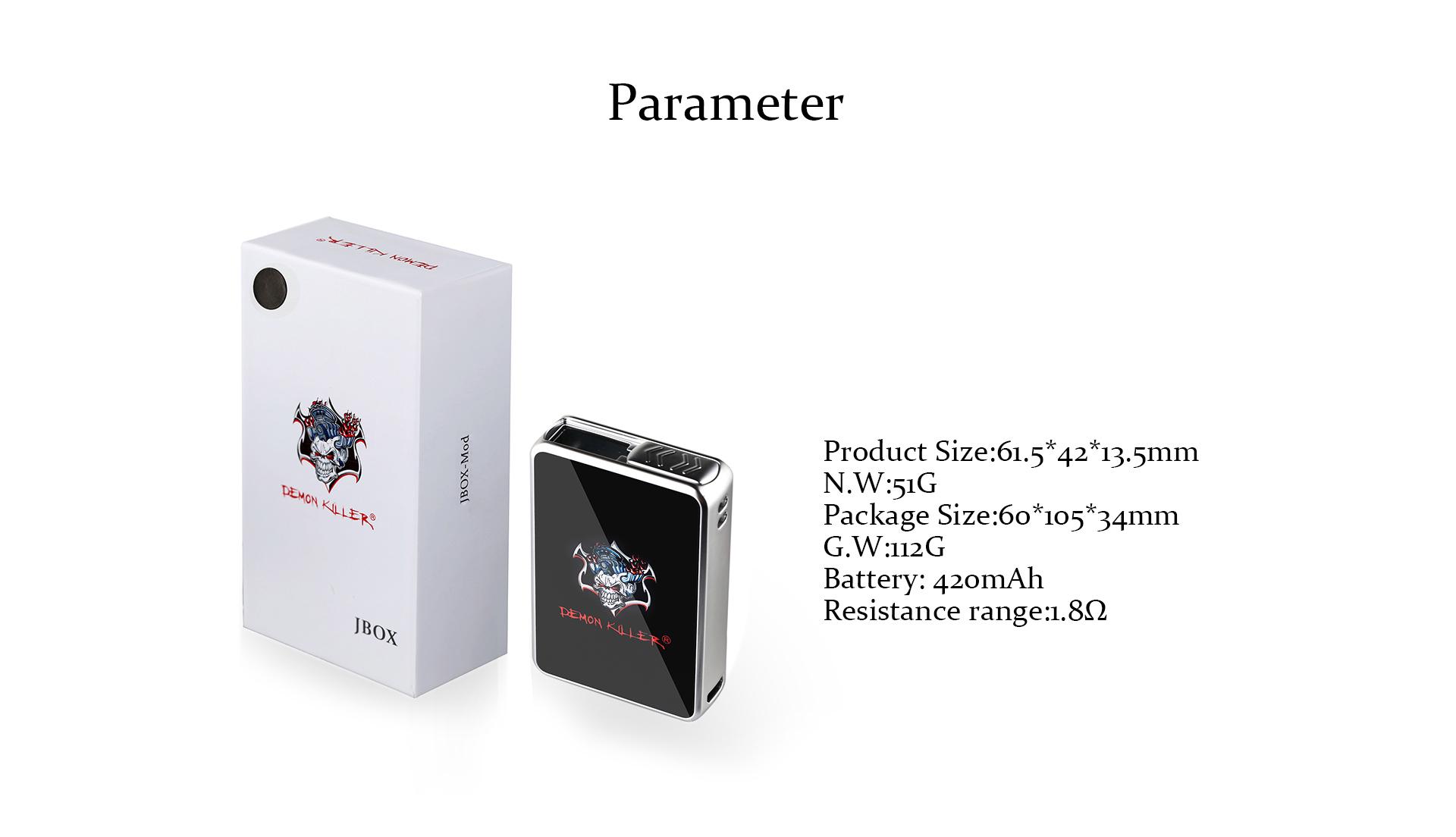 Demon Killer JBOX Mod pod system vape 420mAh battery Compatible with Juul Pod