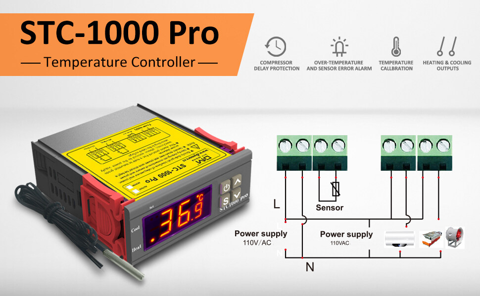STC-1000 Pro Temperature Controller AC 110V-220V All-purpose  Digital LED Thermostat with NTC Sensor