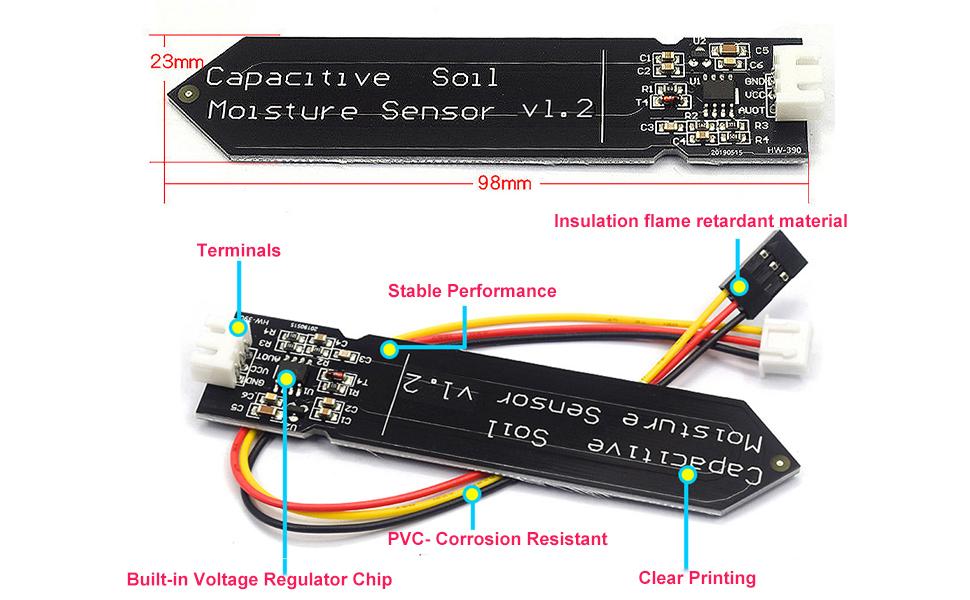 Capacitive Soil Moisture Sensor Module 3.3-5.5V Wire Corrosion Resistant Soil Humidity Detection