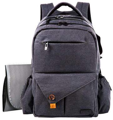 HapTim Multi-function Large Baby Diaper Bag BackpackStylish & Durable with Anti-Water Material(Dark Gray-5284)
