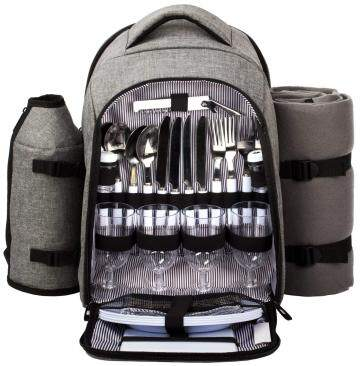 Waterproof Picnic Backpack for 4 Person with Cutlery Set,Detachable Bottle/Wine Holder, Fleece Blanket(Gray)