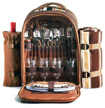 HapTim Strong Picnic Backpack for 4 Person with Cutlery Set - Cooler Compartment - Detachable Bottle/Wine Holder(Brown 3065)