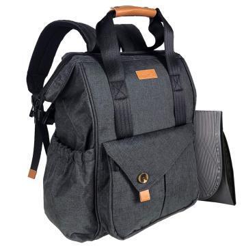 HapTim Baby Diaper Bag Backpack W/ Stroller Straps- Multi-function Designer diaper bags Large Capacity, Insulated Pockets,Changing Pad, Waterproof (5279-Dark Gray)