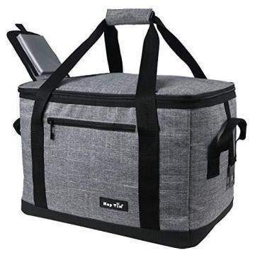 Hap Tim Soft Cooler Bag 40-Can Large Reusable Grocery Bags Soft Sided Collapsible Travel Cooler for Outdoor Travel Hiking Beach Picnic BBQ Party(US13634-Grey)