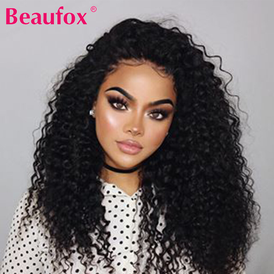 38308a3bbe8 Beaufox Deep Wave Lace Front Wigs Malaysian Virgin Human Hair Extensions  150% Density