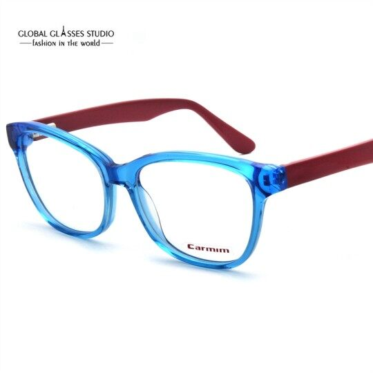 women Rectangle Lens Metal Eyeglasses Hollow Chinese Carving Temple