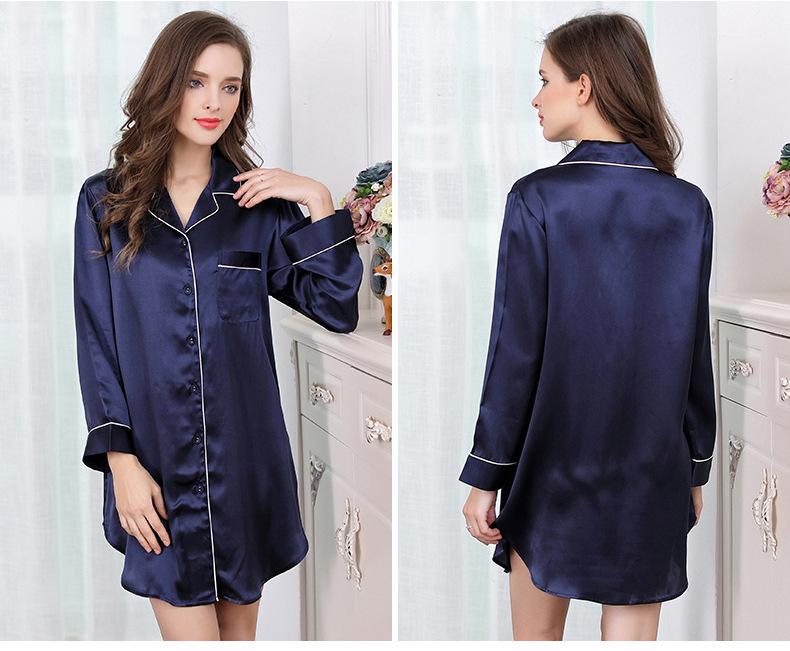 Mulberry silk shirt home dress silk long sleeve sleeping skirt S2500 0