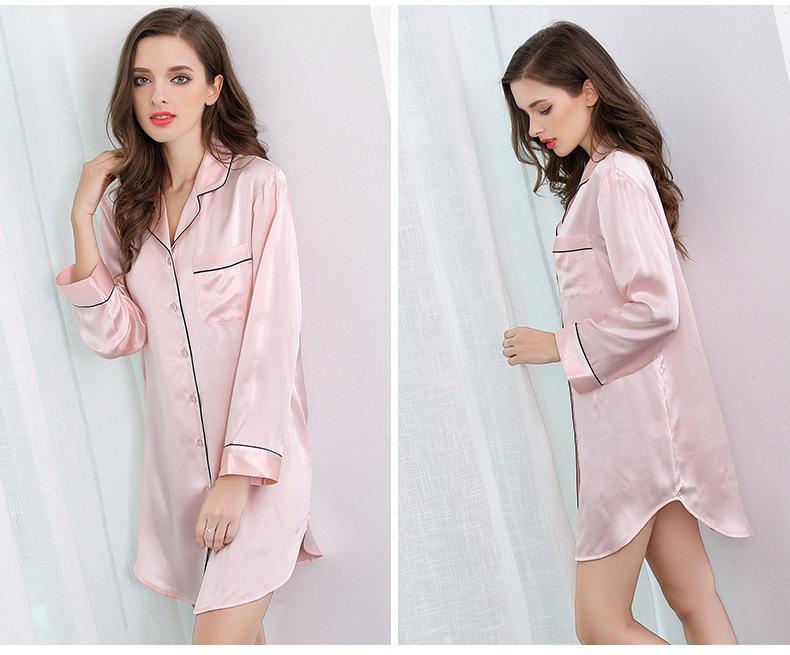 Mulberry silk shirt home dress silk long sleeve sleeping skirt S2500 1