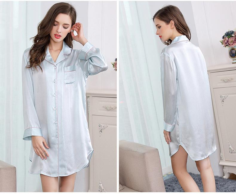 Mulberry silk shirt home dress silk long sleeve sleeping skirt S2500 2