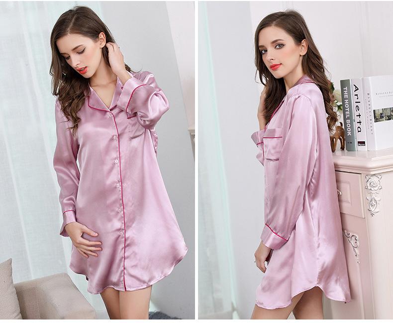 Mulberry silk shirt home dress silk long sleeve sleeping skirt S2500 3