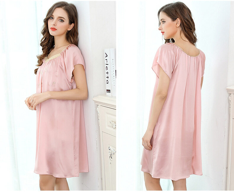 Summer embroidered short-sleeved dress silk dress silk pajamas  S2107 0