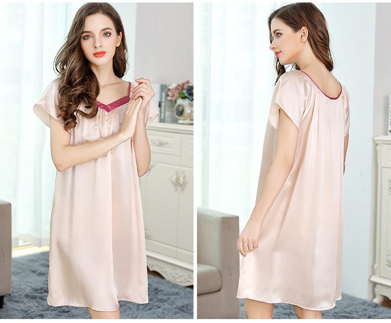 Summer embroidered short-sleeved dress silk dress silk pajamas  S2107 1