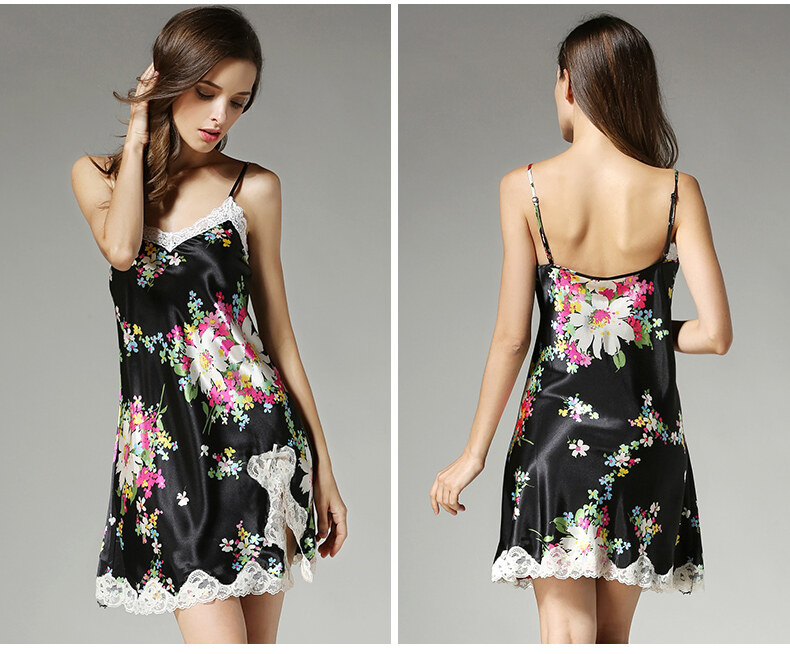 Silk suspender with sexy nightdress  high-end printed mulberry silk pajama  D2104 1