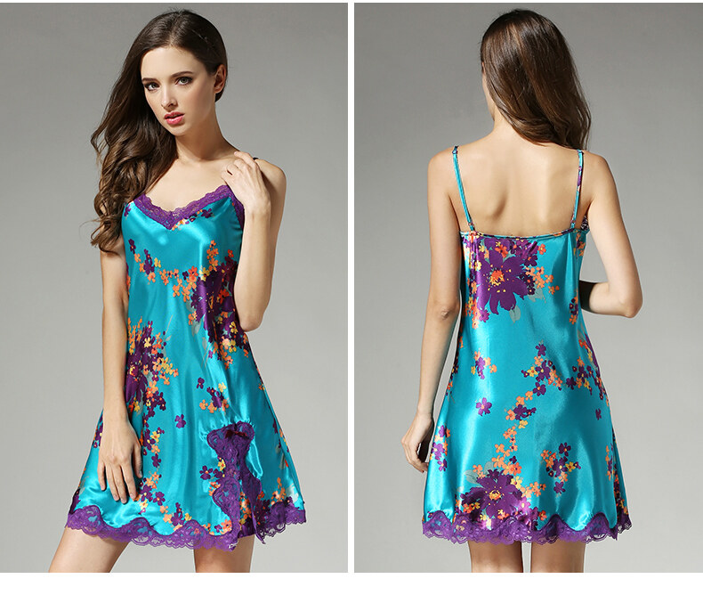 Silk suspender with sexy nightdress  high-end printed mulberry silk pajama  D2104 2