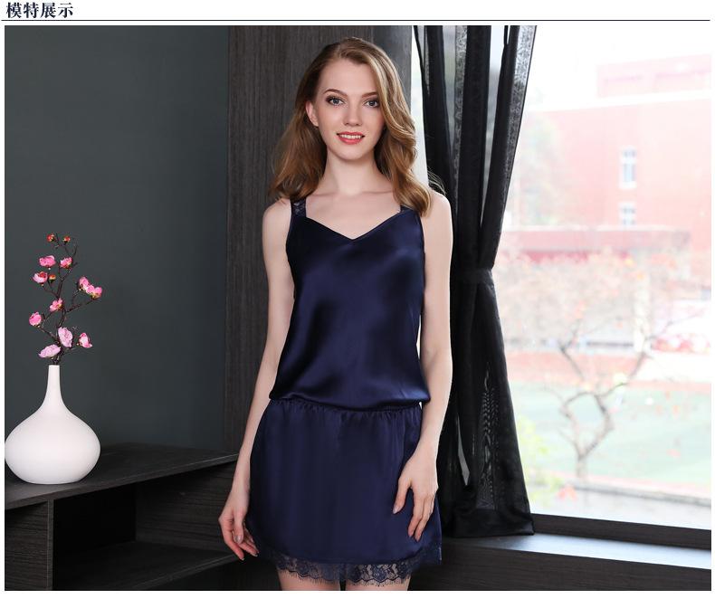 Summer new silk pajamas sexy lace silk night skirt  D2119 0