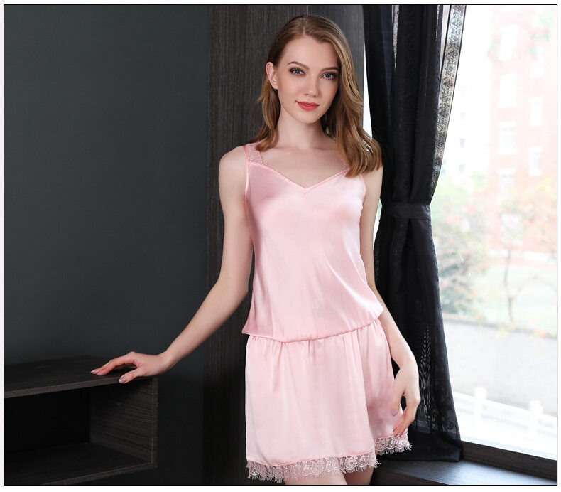 Summer new silk pajamas sexy lace silk night skirt  D2119 1
