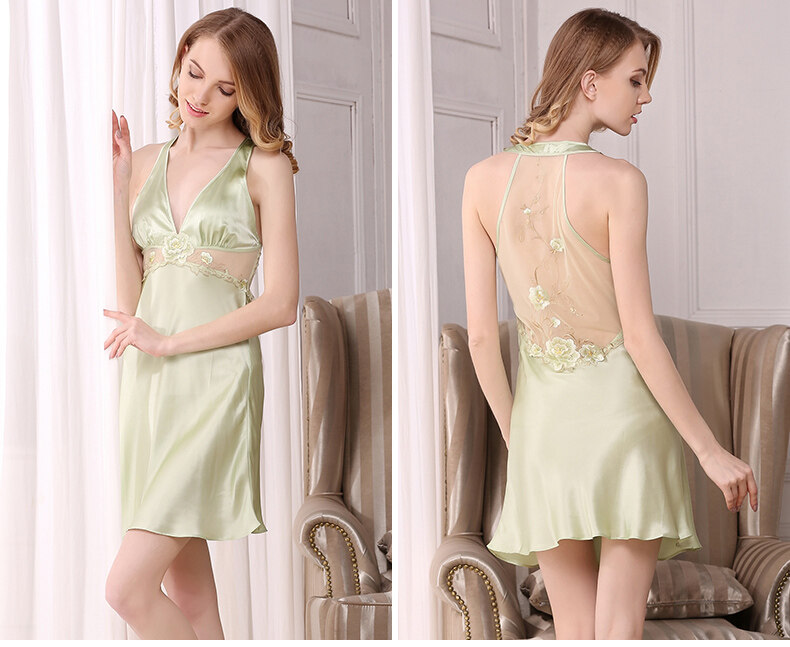 Summer new silk pajamas sexy lace silk night skirt  S82012 0