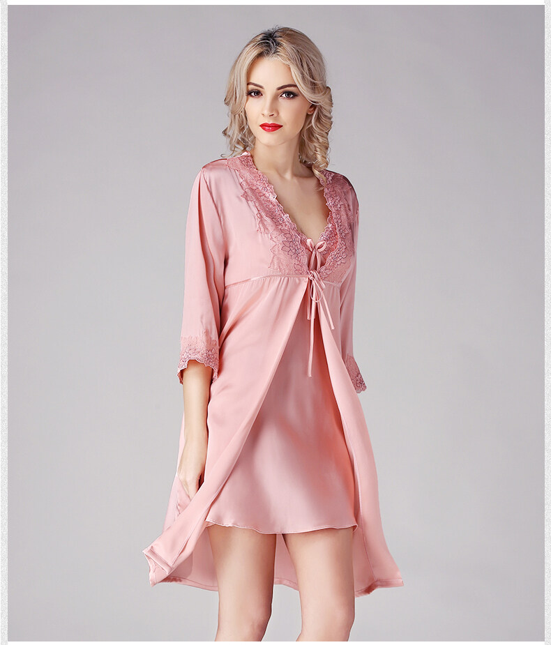 Silk condole belt sleeps skirt sexy pyjamas female to allure lei silk robe 	S841 2