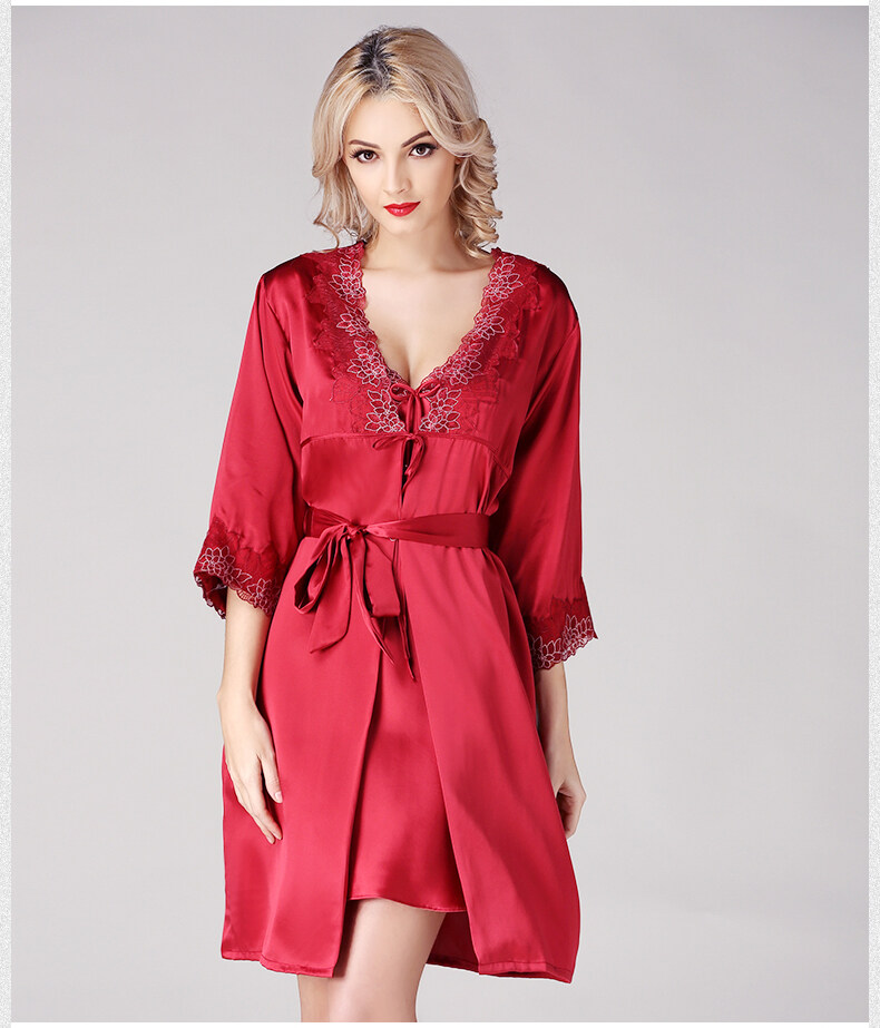 Silk condole belt sleeps skirt sexy pyjamas female to allure lei silk robe 	S841 3