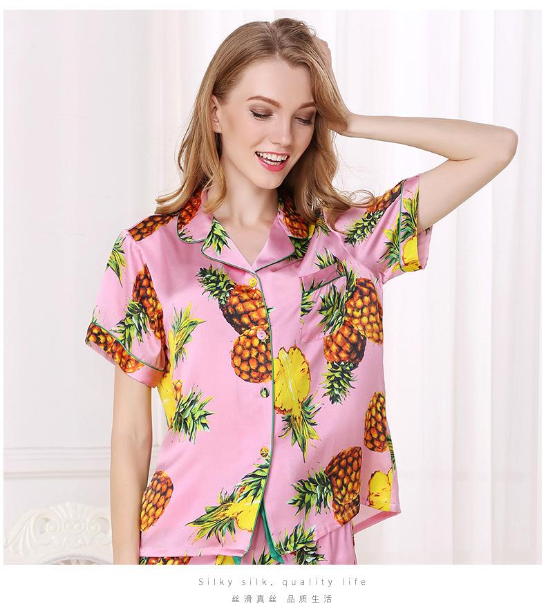 silk pajamas with short sleeves Mulberry silk shirt home dress  D2108-2 2