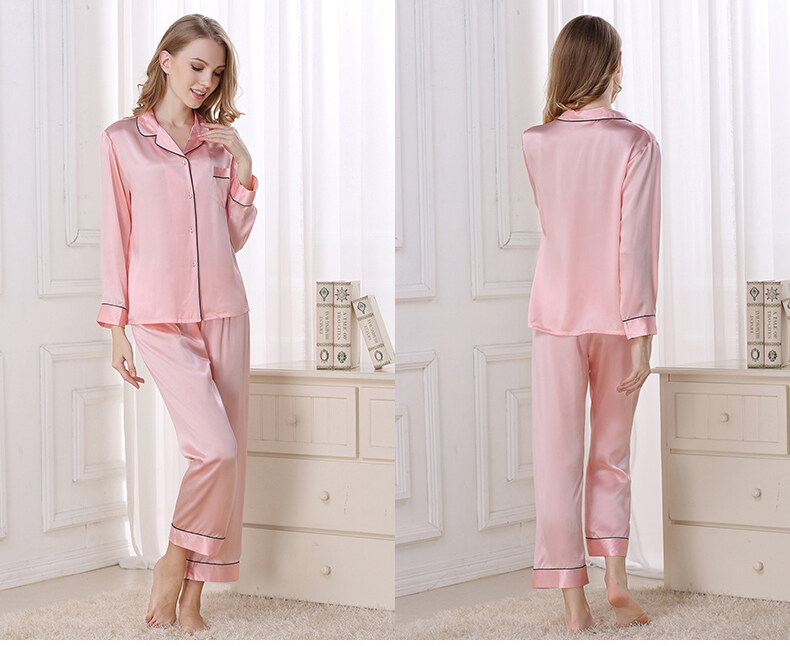 Silk pajama long sleeves and two pieces of silk loose home dress  	T8002 0