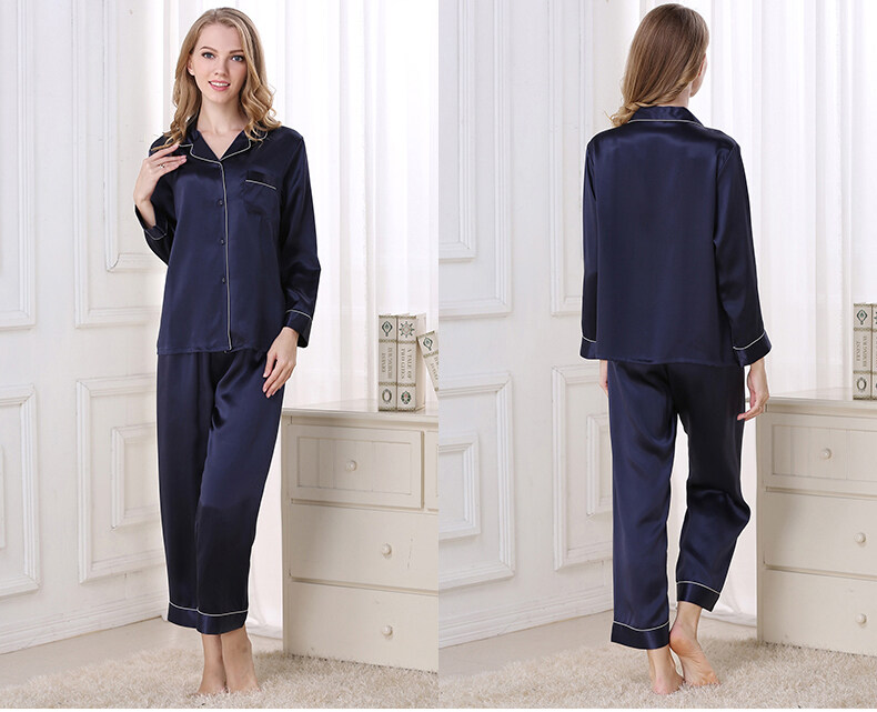 Silk pajama long sleeves and two pieces of silk loose home dress  	T8002 1