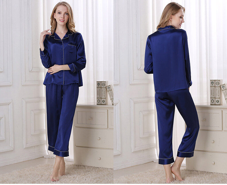 Silk pajama long sleeves and two pieces of silk loose home dress  	T8002 2
