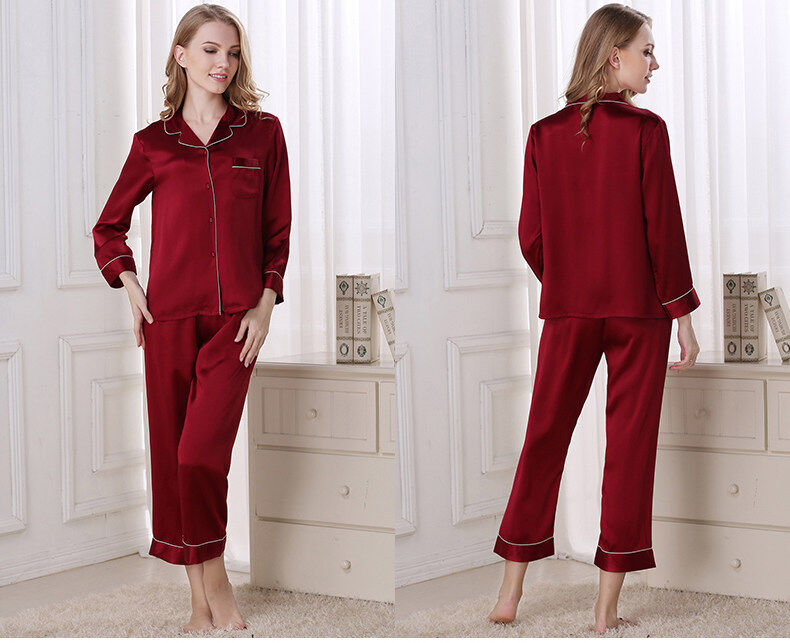 Silk pajama long sleeves and two pieces of silk loose home dress  	T8002 3