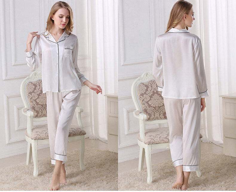 Silk pajama long sleeves and two pieces of silk loose home dress  	T8002 4