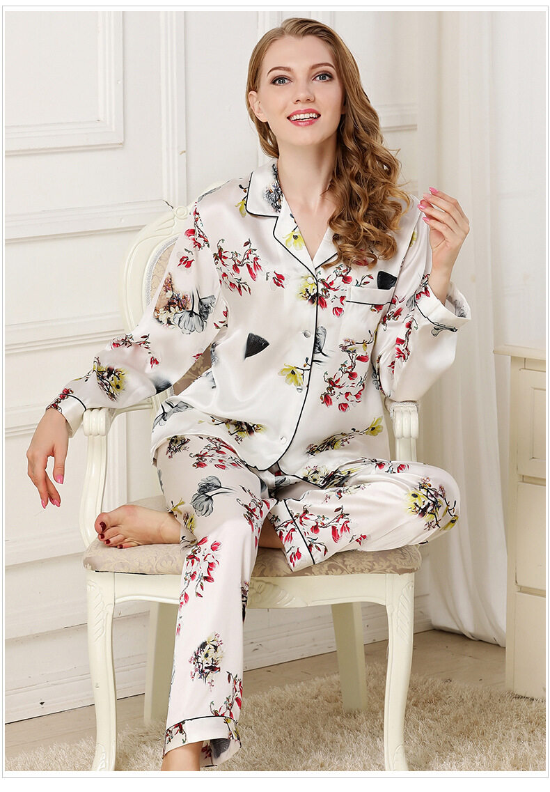 Silk pajama long sleeves and two pieces of silk loose home dress	 T8132 1