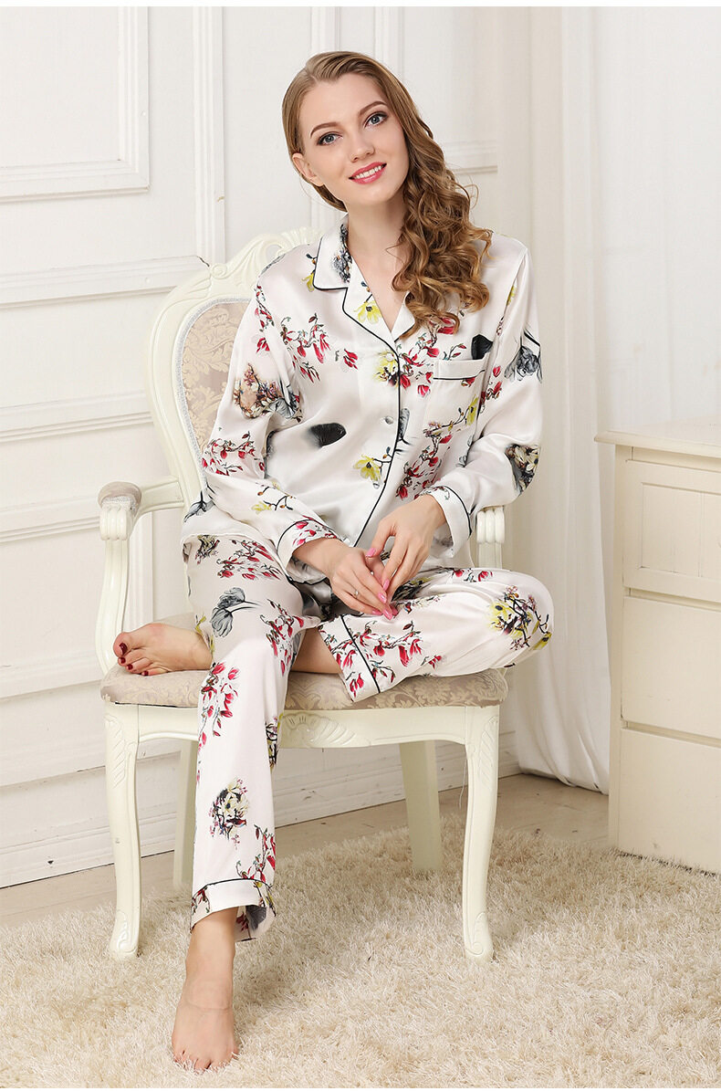 Silk pajama long sleeves and two pieces of silk loose home dress	 T8132 2