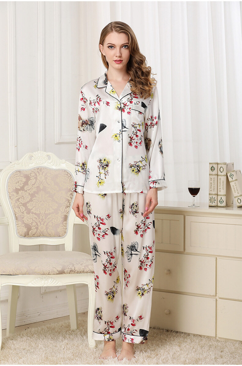 Silk pajama long sleeves and two pieces of silk loose home dress	 T8132 3
