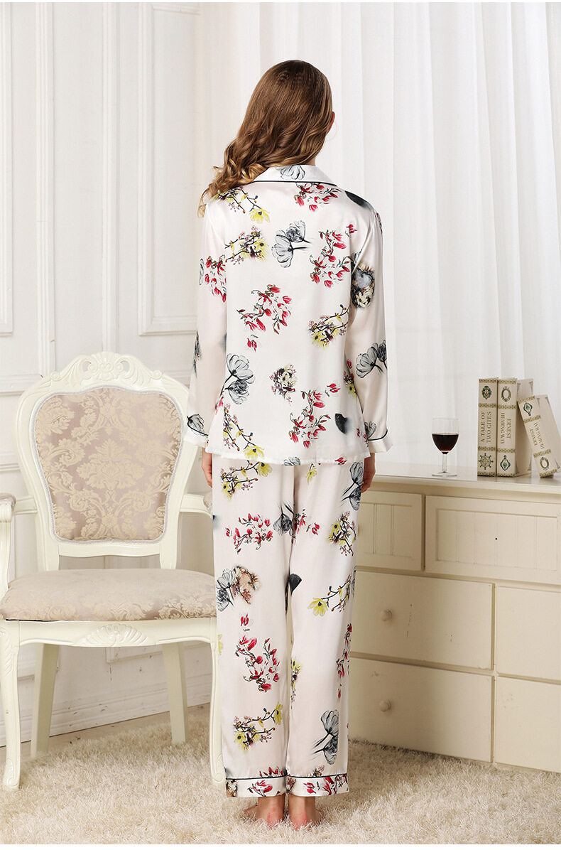 Silk pajama long sleeves and two pieces of silk loose home dress	 T8132 4