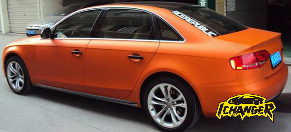 Satin Chrome Orange Car Wrap Vinyl Film