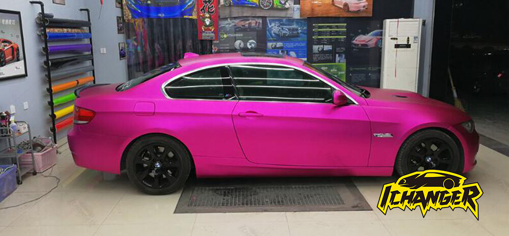 Satin Chrome Rose Red Car Wrap Vinyl Film