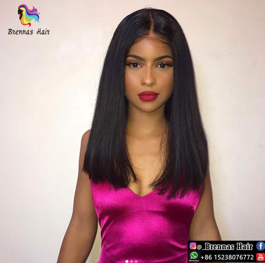 Glueless Lace Front Wig Unprocessed Natrual Straight Long Bob Wig 100%  Human Virgin Hair Tangle Free