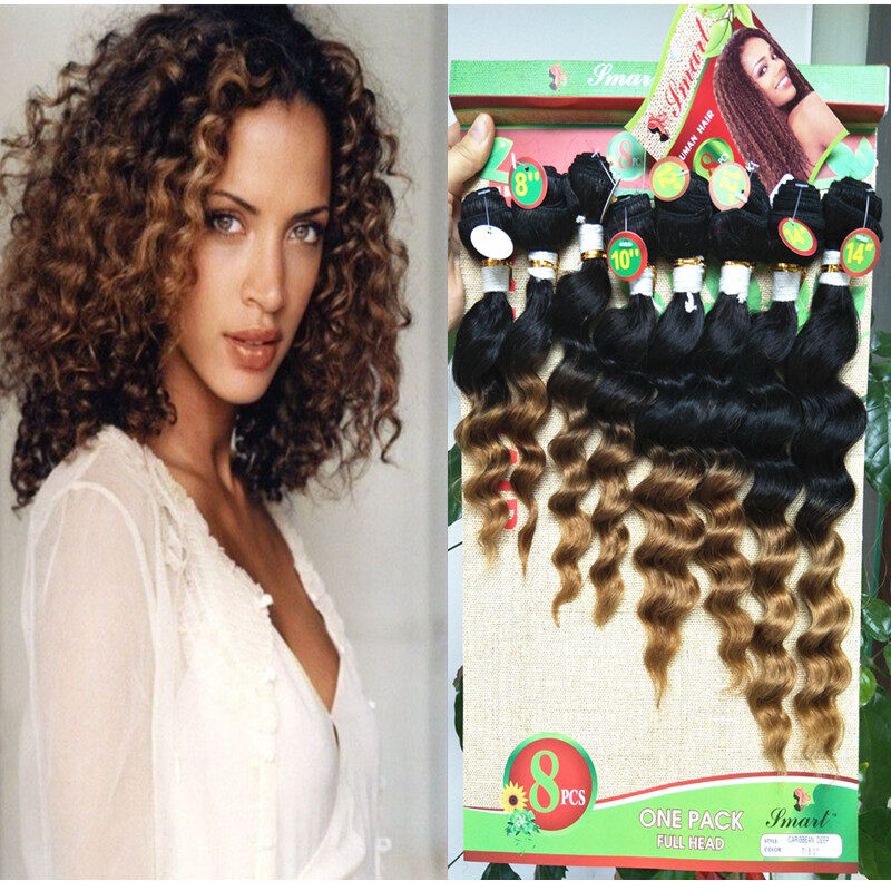 8 Pcs Lot For Full Head Brazilian Hair Extension Curly Virgin Hair 8 14inch Unprocessed Natural Color Hair No Tangle