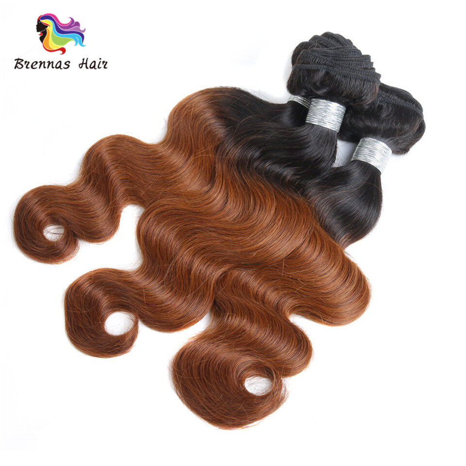 Body Wave Hair Bundles ombre color #1b/30 Brazilian Peruvian Malaysian 100% Virgin Hair Can Be Dyed and Bleached 1