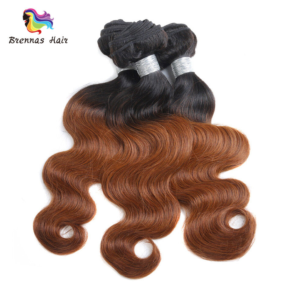 Body Wave Hair Bundles ombre color #1b/30 Brazilian Peruvian Malaysian 100% Virgin Hair Can Be Dyed and Bleached 3
