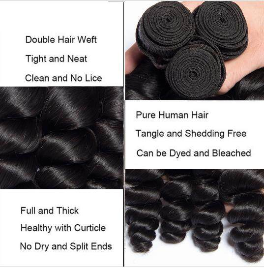 Loose Wave Hair weaves 3bundles 8-26inch Natural black Full Thick Tangle Free  Hair Extensions 4