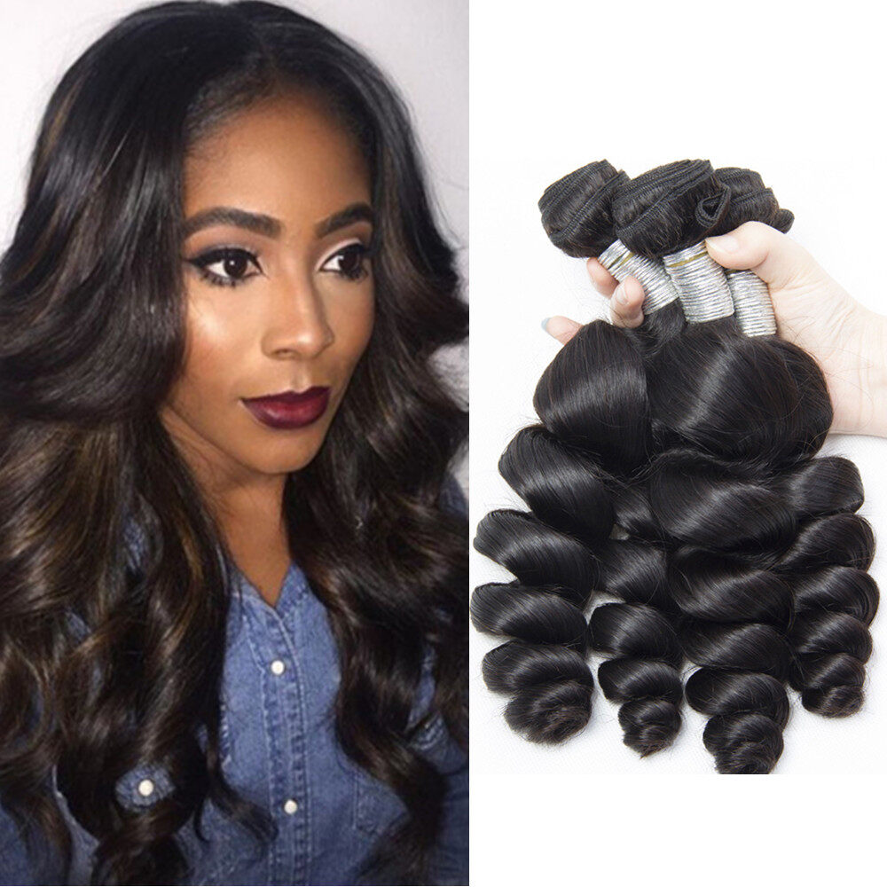 Loose Wave Hair weaves 3bundles 8-26inch Natural black Full Thick Tangle Free  Hair Extensions 0