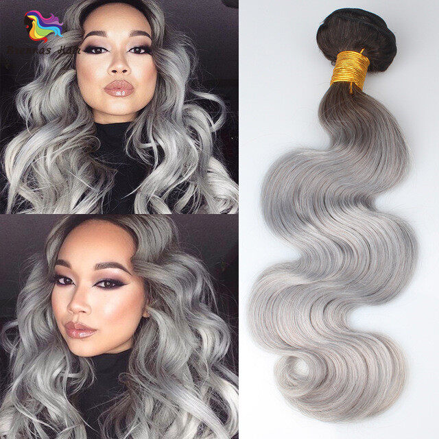 1b Grey Ombre Remy Human Hair Extensions Body Wave Hair 3 Bundle Gray Color Ombre