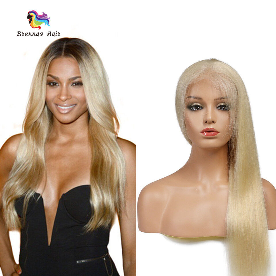 Brennas Hair 613 Blonde Color Sliky Straight Front Lace